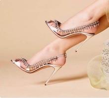 Stylish Silver Clear PVC Crystal Wedding Shoes Bride Open Toe Elastic Band Slingback Fringe Bling Rhinestone Pumps