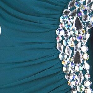 Image 4 - Angel fashions Beading One Shoulder Silt Pleat Draped Evening Dress vestido de noiva 411 Green