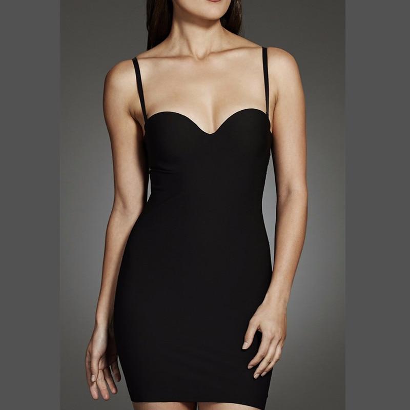 Womens Sculpt Strapless Contour Bra Slip Dress Sexy Smooth Seamless ShapewearControl Slips   -