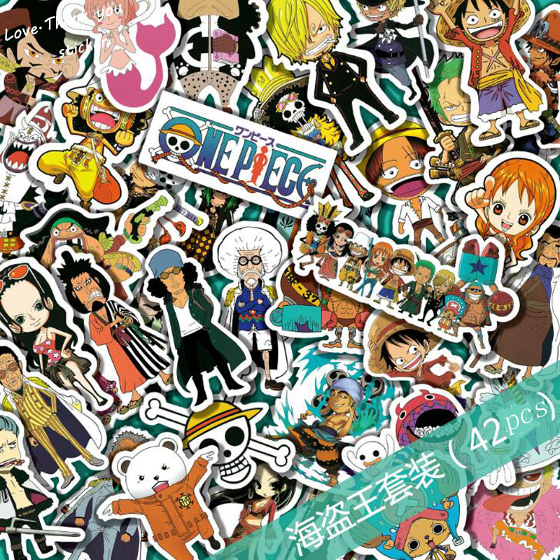 42 Pcs Mixed One Piece Stickers For Children Anime Funny Cartoon Stickers Home Decor Wall Car