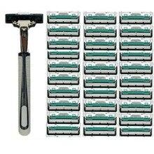 1 ручка+ 30 шт двухслойных лезвий) мужское бритвенное лезвие ручное бритвенное лезвие для стандартного триммера для бороды