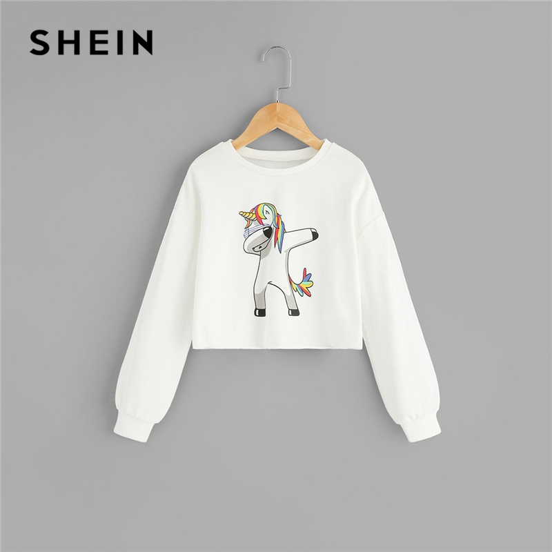 SHEIN Kiddie White Cartoon Print Girls Casual Sweatshirts Kids Clothing 2019 Spring Long Sleeve Pullover Children Cute Tops