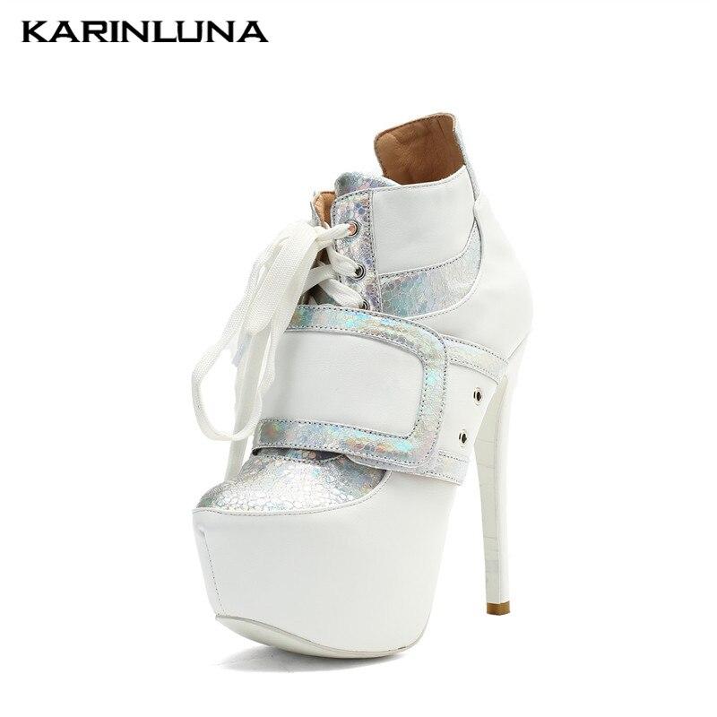 47 De 2019 Delgados Zapatos Plataforma Caliente Moda Plus Venta Karinluna Blanco Alto Mujer Tacón Tobillo 34 Tamaño Botas qEYdn