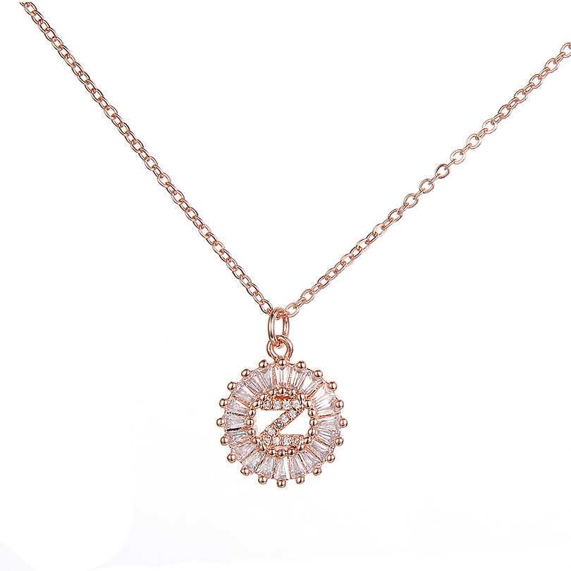 Pipitree cobre branco zircônia cúbica 26 alfabeto carta pingente colares A-Z inicial charme corrente colar feminino colar de jóias