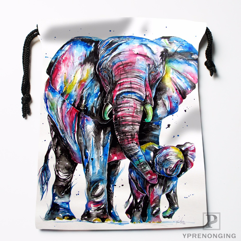 Custom Elephant Aztec Floral Drawstring Bags Travel Storage Mini Pouch Swim Hiking Toy Bag Size 18x22cm#0412-04-29