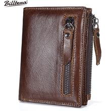 Billtera Echtes Leder Reißverschluss Herren Brieftasche 2 Farbe Geldbörse für Männer Casual Style Kurze Brieftaschen Karte und Foto Halter Münztüte