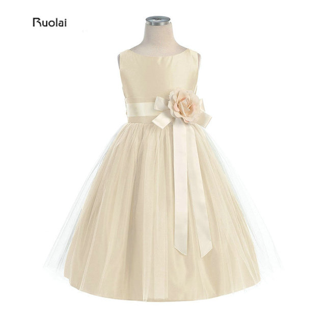 Little Queen Champagne Vintage Satin Tulle Flower Girl Sukienka Na