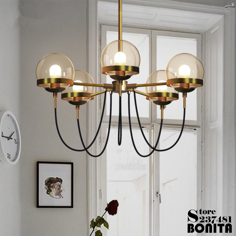 Vintage Hotel Lobby Brass Round Ring Amber Glass Ball Cord Pendant Lamp Spider Copper Iron Hanging Lights For Dining Room brass half round ball shade pendant light led vintage copper wooden lighting fixture brass wood fabric wire pendant lamp