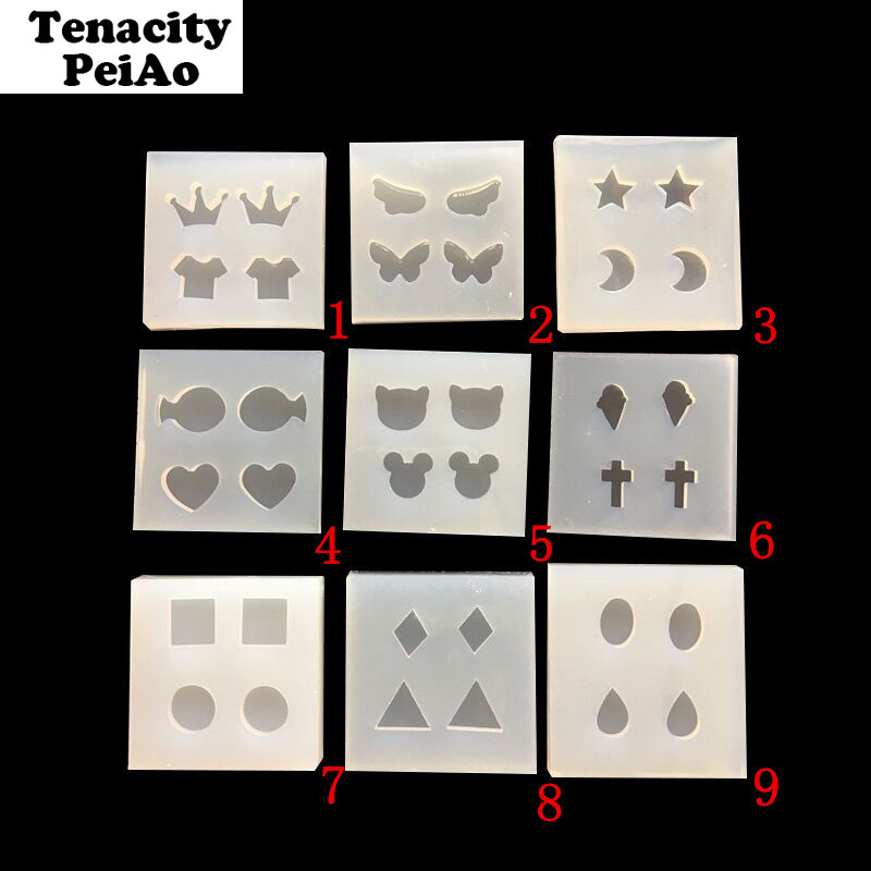 Transparent Silicone Molds DIY Epoxy Uv Resin Mold For Earring Pendants Jewelry Making Tools