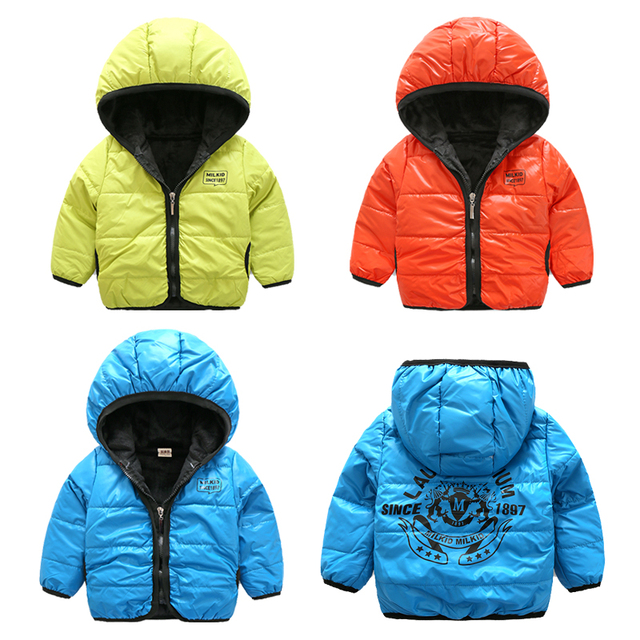 Boys child fleece jacket 2017 winter baby boys thickening sports jackets hooded solid color boys coats