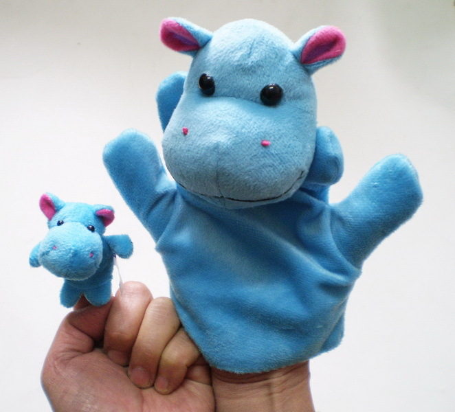 New Hot Sale Interactive with Kids Hippo Hand Puppets Finger Toys Baby Dolls Plush Puppets bedtimes Christmas Toys for Children