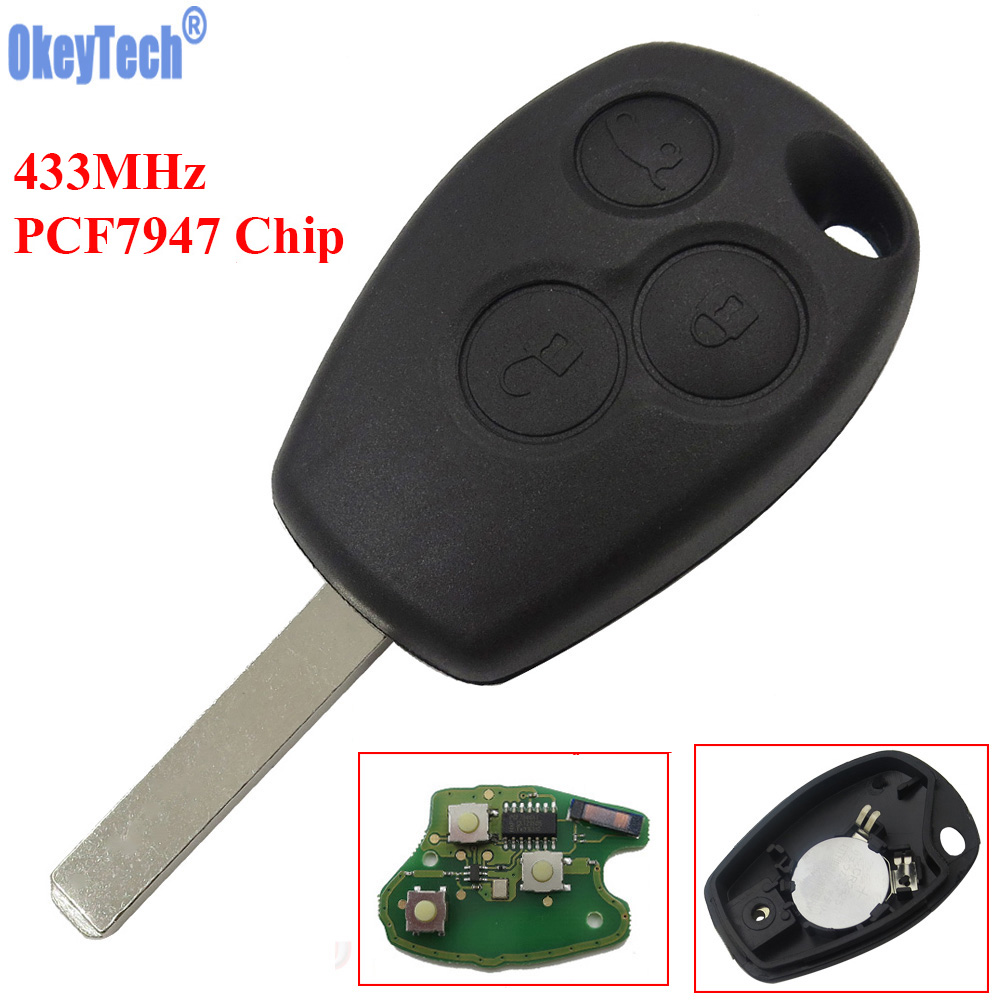 OkeyTech 433MHz ID46 PCF7947 Chip 3 Button Car Remote Key Fob For Renault /Kangoo II /Clio III Auto Replacement Keyless Alarm okeytech 433mhz id46 pcf7947 chip 3 button car remote key fob for renault kangoo ii clio iii auto replacement keyless alarm