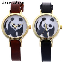 snowshine 10 Fashion Women Watch Panda Faux Leather Band Analog Quartz Wrist Watch free shipping