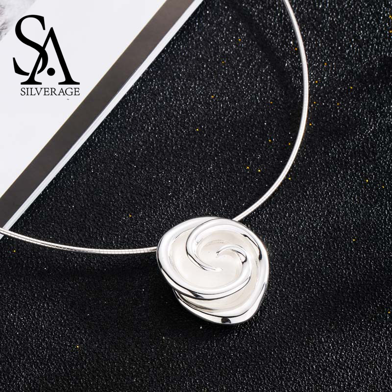 SA SILVERAGE New 925 Sterling Silver Rose Chokers Necklaces for Women Flower 925 Silver Pendant Statement