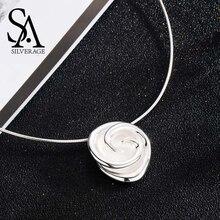 ¡Novedad de 925! Collares de plata de ley SA silaverage con rosas para mujer, collares colgantes de declaración de plata 925 con flores, joyería fina