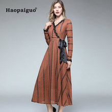 S-XXL Big Size A-Line Vintage Dress Women V-neck Long Sleeve Midi Party Dress Women Striped Casual Dress Winter 2018 Vestidos stylish round neck long sleeve voile spliced a line women s dress