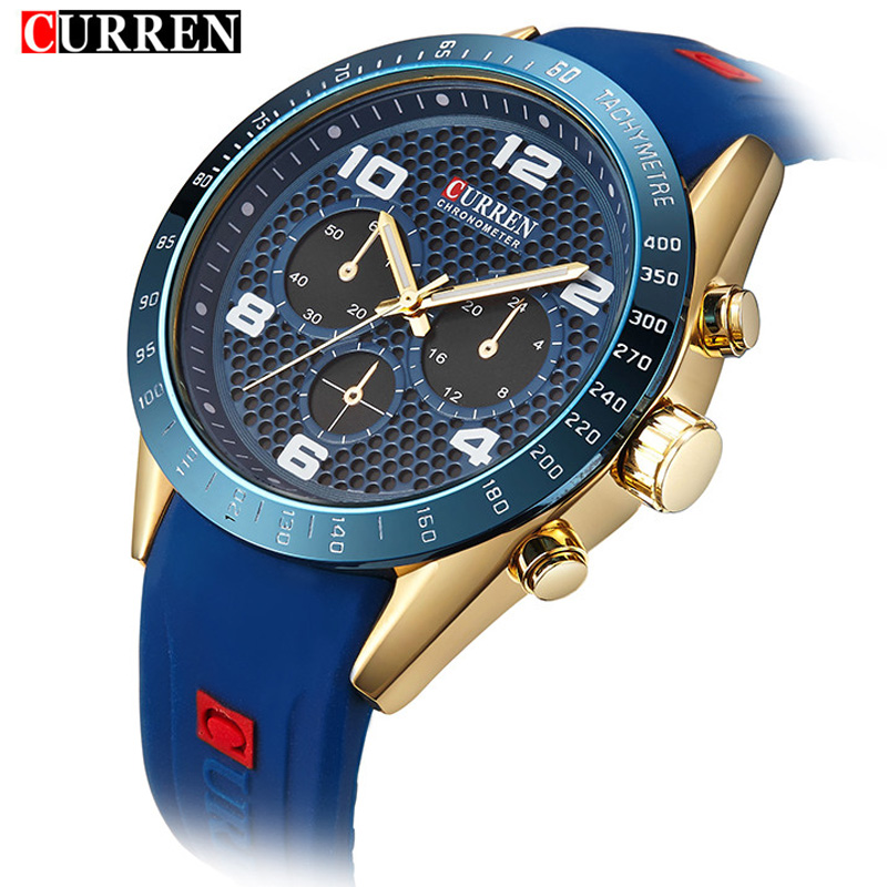 CURREN Men Watch New Top Luxury Brand Sport Military Business Casual Male Clock Rubber Strap Wrist Quartz Mens Watches Gift 8167