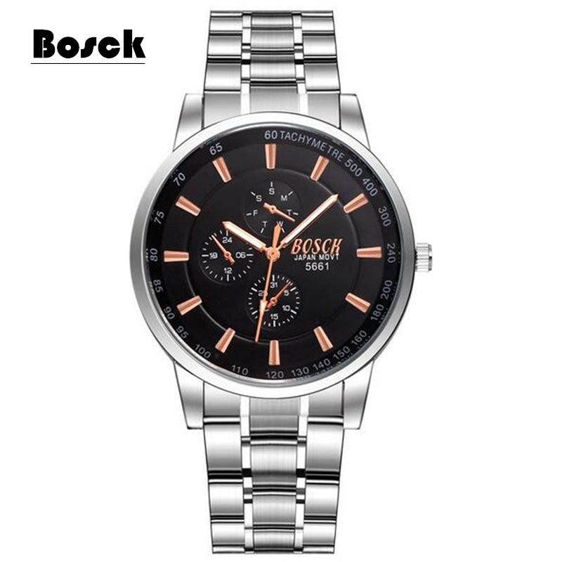 HOT! Men's Business Watches Men BOSCK luxury Brand Military Wrist Watches Full Stainless Steel Quartz Watch Relogio Masculino