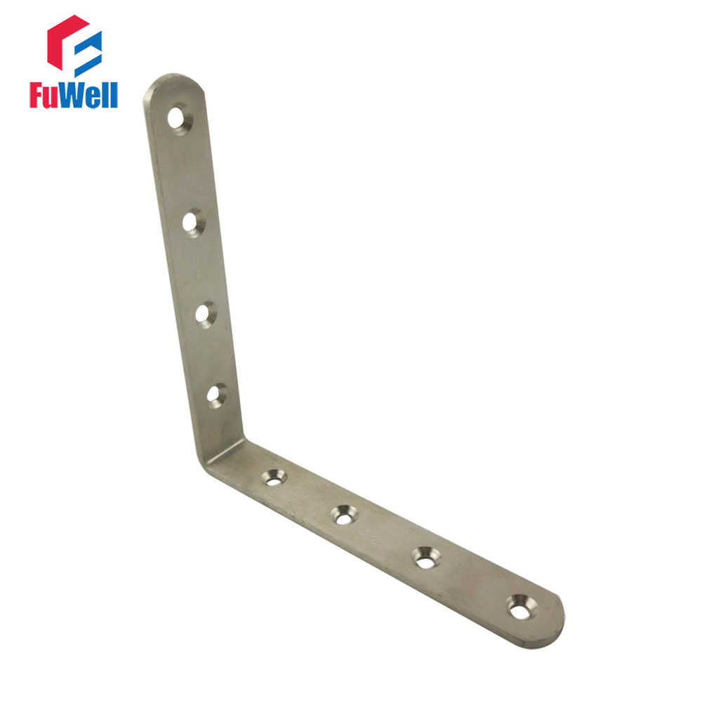 2pcs 125mm x 125mm 90 degree Corner Brackets 3mm Thickness Stainless Steel Angle Bracket for Bed Cabinet Table Furniture 2pcs 90 degree up