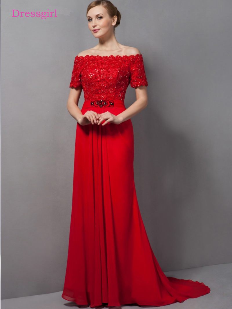 Red 2019 Mother Of The Bride Dresses A-line Short Sleeves Chiffon Lace Bead Plus Size Long Elegant Groom Mother Dresses Wedding
