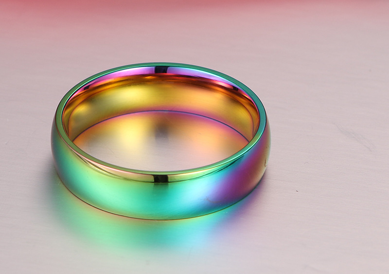 2017 new fashion 6mm wide gay pride rings jewelry rainbow color wedding rings for women and men wholesale stainless steel ring in rings from jewelry - Rainbow Wedding Rings