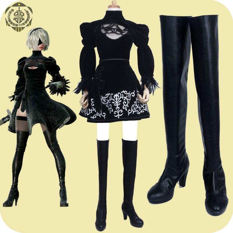 PU بازی چرمی NieR Automata 2B Boots cosplay shoes هر - ماسک و تن پوش کارتونی