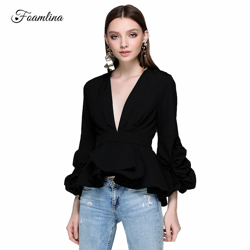 Foamlina Fashion New Women Puff Sleeve Ruffles Shirt Blouse Sexy Deep V neck Ladies Elegant Tops Female Clothes Shirts Blusas