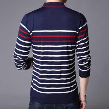 Liseaven Men Polo Shirt Long Sleeve Striped Polos Slim Fit Male Shirt Camisas Cotton Tees Tops