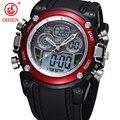 OHSEN Analógico Digital LCD Dual Time Assista Reloj Hombre Relogios Masculino Homens Meninos Esporte Relógios Militar relógio de Pulso À Prova D' Água