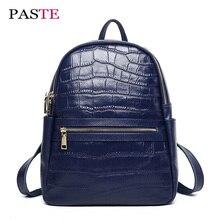 Лето 2017 г. натуральная кожа сделанный рюкзак женская люксовых брендов дизайнер ноутбук туристический рюкзак аллигатора высокое качество сумка