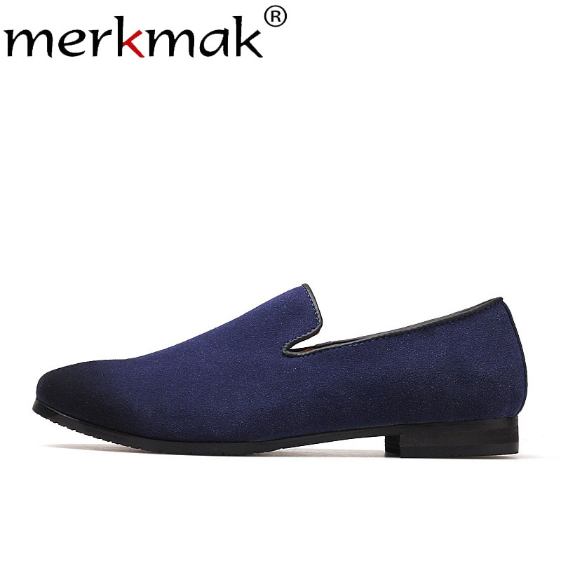 Merkmak Summer Suede Men Loafers Formal Dress Shoes Male Elegant Slip On Wedding Party Man Casual Footwear Large Size 36-48 Flat