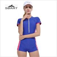 SBART Women Short Sleeve One Piece Swimwear Swimsuits Female Swimming Bodysuits Bathing Suits Women Rash Guard Boxer Shorts