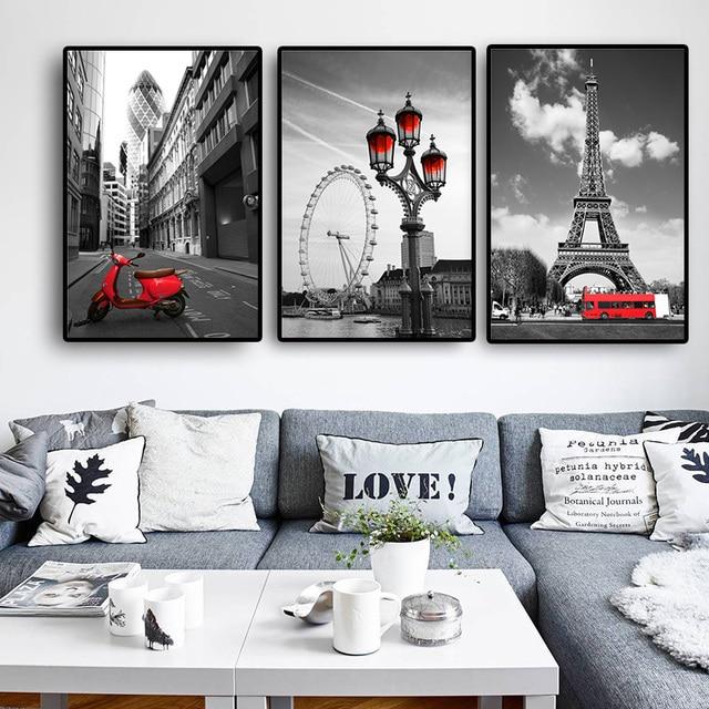 Black-White Cityscape Canvas