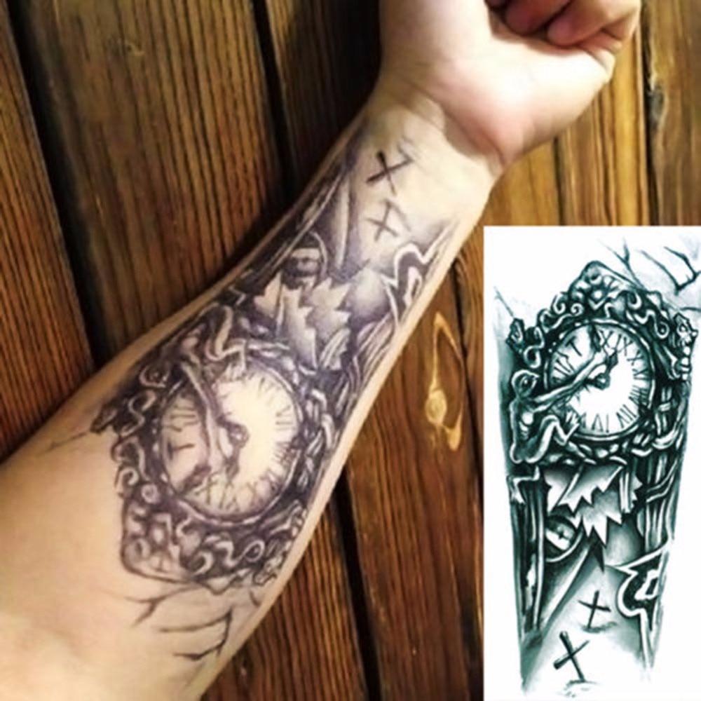 Black 3D Sexy Fake Transfer Tattoo Chest Clock Tatoos For Men Temporary Large Mechanical Arm Tattoo Sticker Women