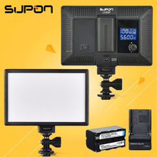 SUPON L122T LED 3300K-5600K Ultra thin LCD Bi-Color & Dimmable Studio Video Lamp Panel fr Camera DV Camcorder+1* NP-F550 Battery