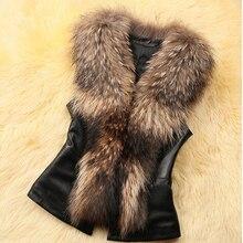 Autumn and winter women's faux fur vest lady's short design faux leather raccoon fur collor vest waistcoat