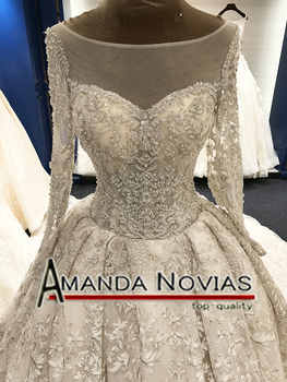 2018 Long Train Luxury Real Photos Wedding Dresses Amanda Novias