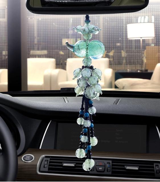 Car Interior Decor Lucky Fluorescence Glass Gourd Car Hanging