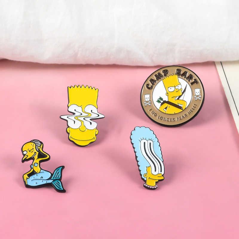 QIHE QH-GIOIELLI Simp-La Famiglia figlio Spilli Mr Burns Bart Simpson Marge Simpson Risvolto Spille Vintage TV Show 90S gioielli