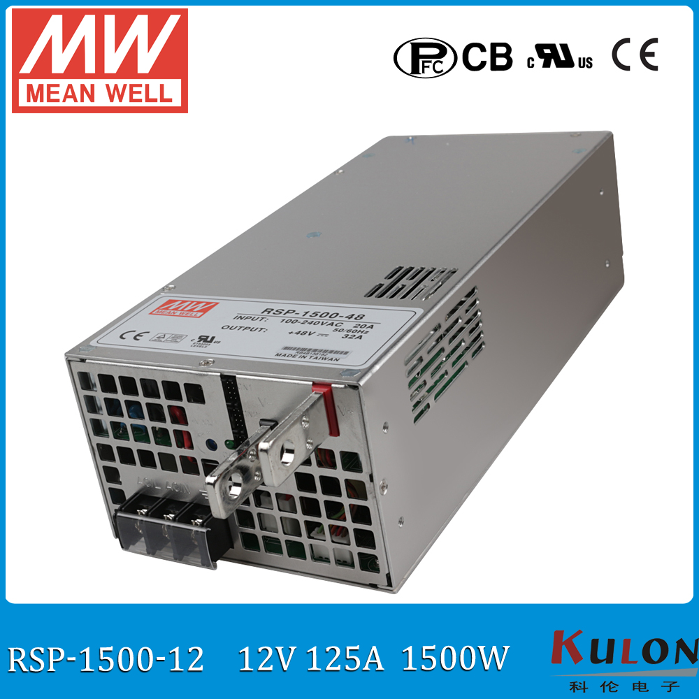 Original MEAN WELL RSP-1500-12 1500W 125A 12V ac/dc meanwell Power Supply with PFC function current sharing (Parallel operation) original mean well rsp 2400 12 2000w 160a 12v voltage trimmable meanwell power supply 12v 2000w with pfc in parallel connection