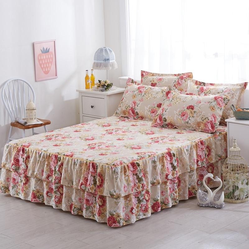 Gewijd Rufflers Koreaanse Bed Rok Matrashoes Bed Set Elastische Bed Cover Lakens Set 160 Cm X 200 Cm/ 180 Cm X 200 Cm Sabanas Drap De Lit