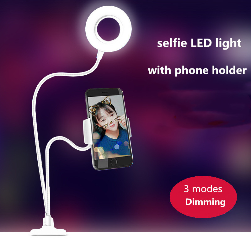 3 Mode Dimming Selfie Light Selfie Stick Tripod With Ring Light Selfie Beauty Portrait Fill Light Holder For IPhone XS MAX 8 USB