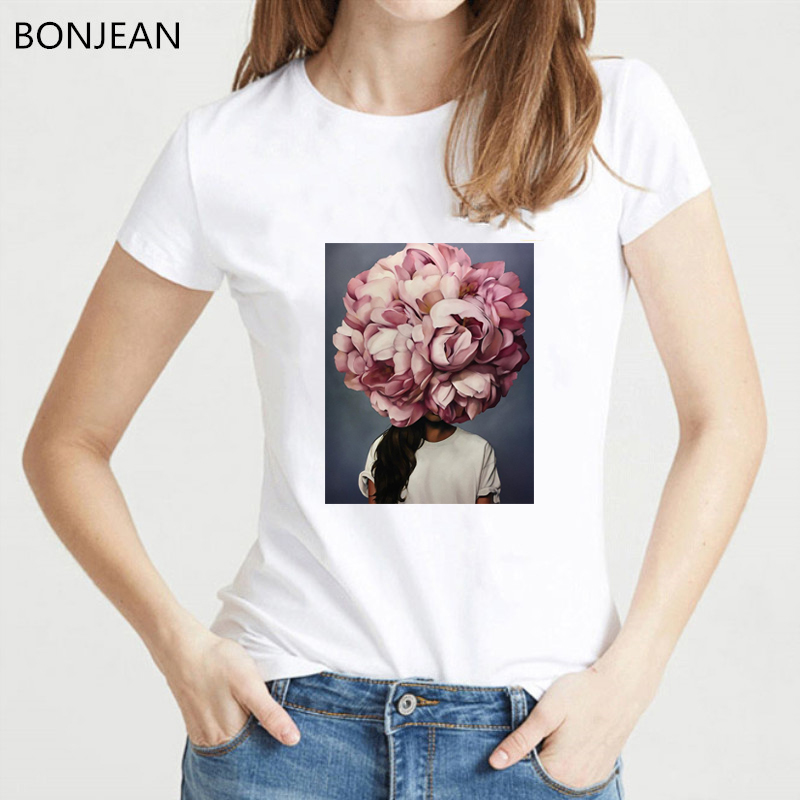 Vintage t shirt women Harajuku Aesthetics Tshirt femme Abstract Flower Girl print tee shirt streetwear mysterious female t shirt in T Shirts from Women 39 s Clothing