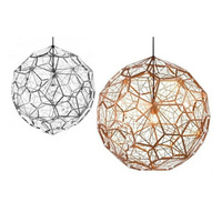 Italy Designer Stainless Steel Diamond Ball Etch Web Pendant Light Retro Creative Personality Coffee Shop bar loft Lamp