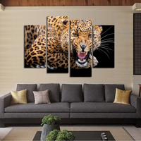 Luxry 4 Panels No Frame Yellow Spots Leopard Painting Canvas Wall Art Picture Home Decor Living