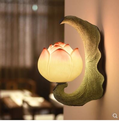 Creative new Chinese wall lamp study background wall corridor aisle garden balcony decoration bedside stairs lotus lampsCreative new Chinese wall lamp study background wall corridor aisle garden balcony decoration bedside stairs lotus lamps