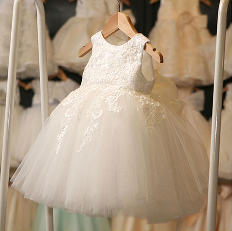 ФОТО  A-Line Flower Girls Dresses For Wedding Gowns White Lace Party Dress Holy Communion Dresses Baby Dress