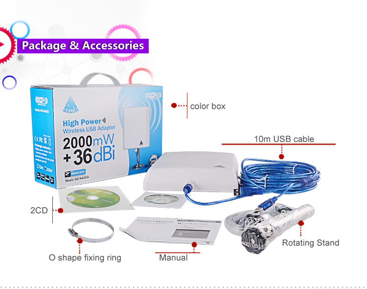 US $14 5 |MELON N4000 36dBi 150Mbps 2 4GHz outdoor 1km long distance usb  wifi receiver-in Network Cards from Computer & Office on Aliexpress com |