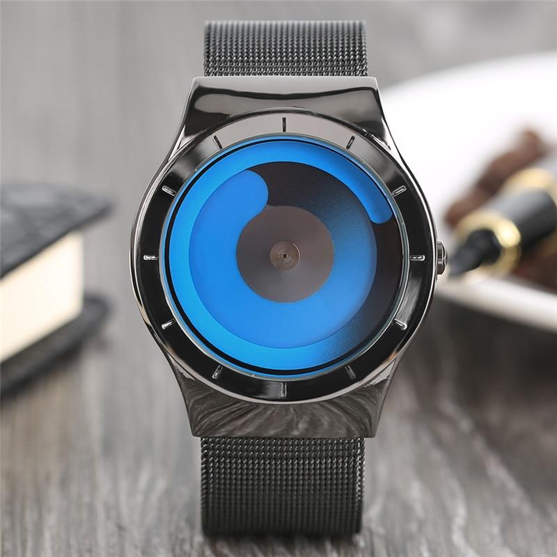 все цены на Unique Gradual Change Color Quarzt Wristwatch for Men Turntable Watch Non-analog Male Clock Unisex Student Relogio Masculino онлайн