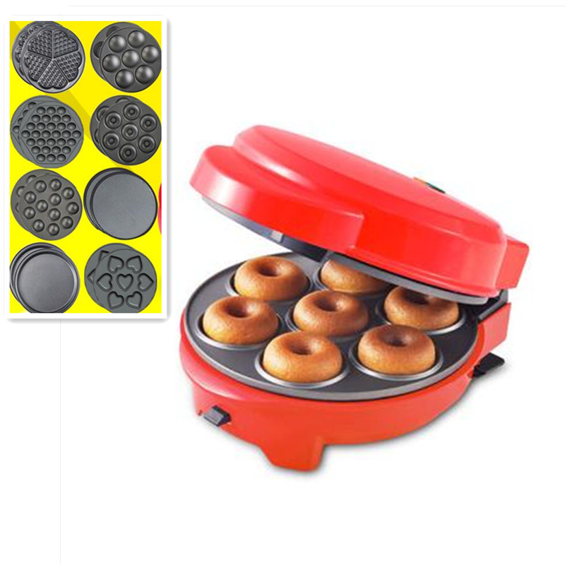 220V Non-stick Electric DIY Breakfast Machine Multifunctional Donut Waffle Cake Maker Red Color Optional 8 Plates EU/US/BS Plug 220v multifunctional non stick electric cake maker waffle donut crepe grill plate with 7 plates electric waffle machine